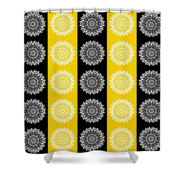 Floral Medallion Pattern In Black And Yellow Shower Curtain