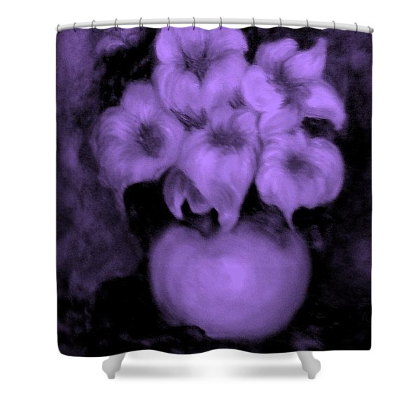 Floral Puffs In Purple Shower Curtain
