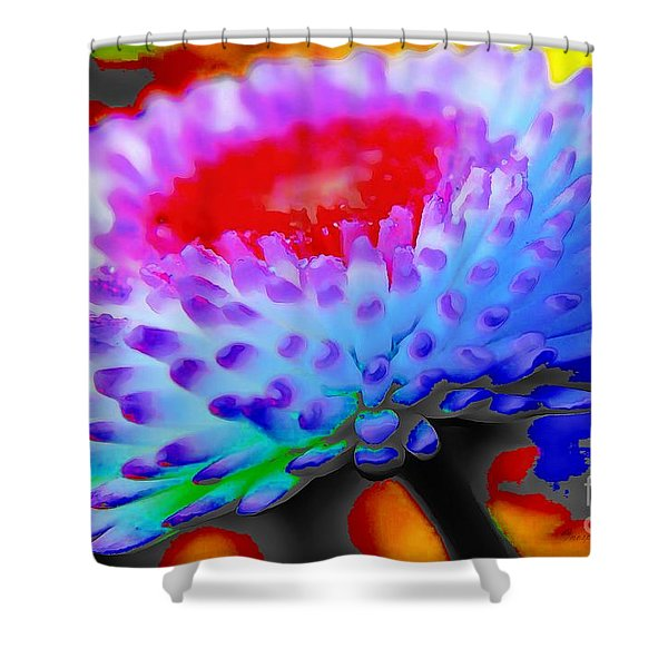 Floral Rainbow Splattered In Thick Paint Shower Curtain
