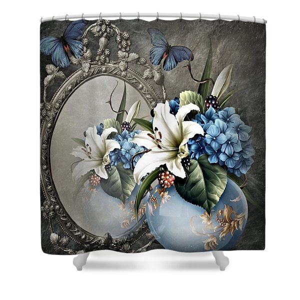Floral Reflection Shower Curtain