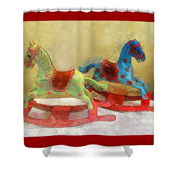 Floral Rocking Horses Shower Curtain