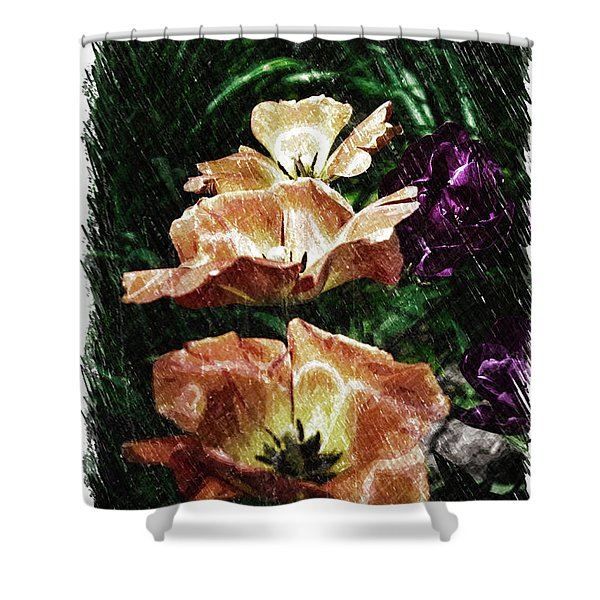 Floral Spring Tulips 2017 Pa 01 Vertical Shower Curtain