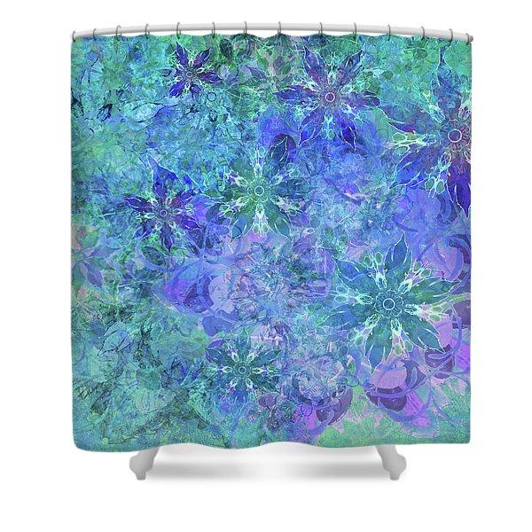 Floral Watercolor Blue Shower Curtain