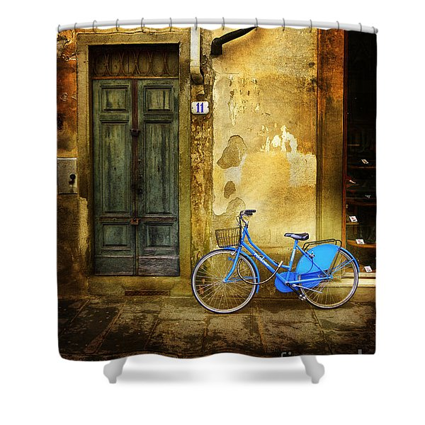 Florence Blue Bicycle Shower Curtain