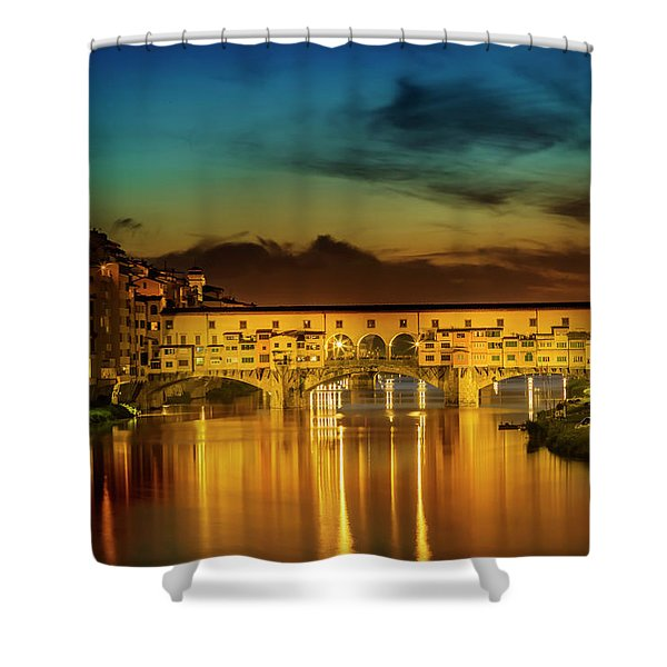 Florence Ponte Vecchio At Sunset Shower Curtain