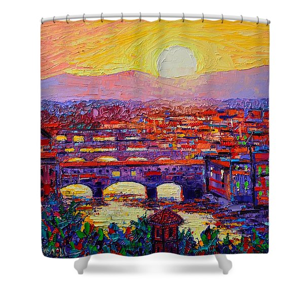 Florence Sunset Over Ponte Vecchio Abstract Impressionist Knife Oil Painting By Ana Maria Edulescu Shower Curtain