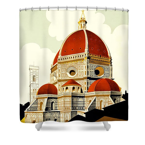 Florence Travel Poster Shower Curtain