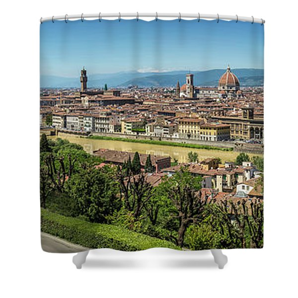 Florence View From Piazzale Michelangelo - Panoramic Shower Curtain