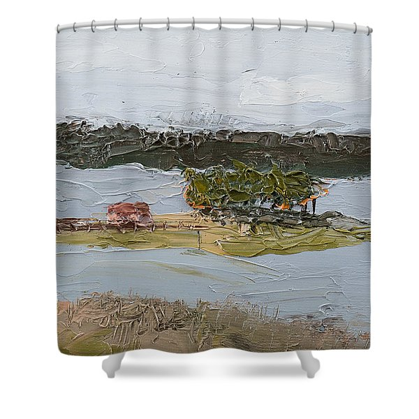 Shower Curtain featuring the painting Florida Lake II by Break The Silhouette