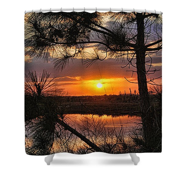Florida Pine Sunset Shower Curtain