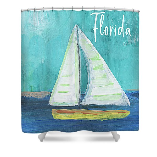 Florida Sailing 2- Art By Linda Woods Shower Curtain