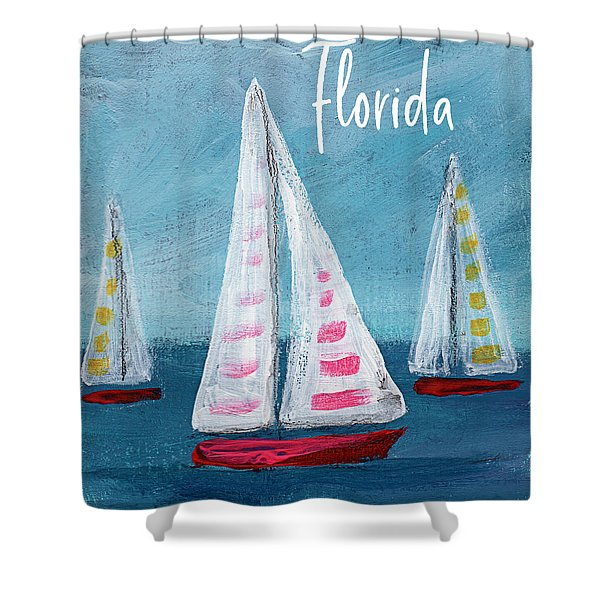 Florida Sailing- Art By Linda Woods Shower Curtain