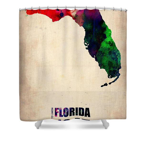 Florida Watercolor Map Shower Curtain