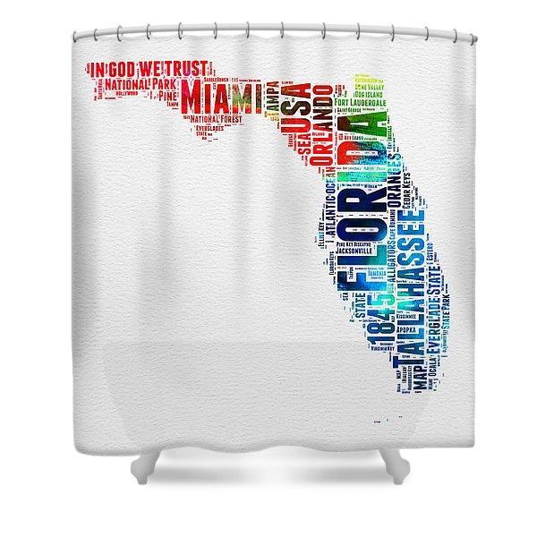 Florida Watercolor Word Cloud Mao Shower Curtain