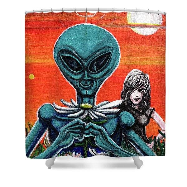 Flower. Alien. Moon Shower Curtain