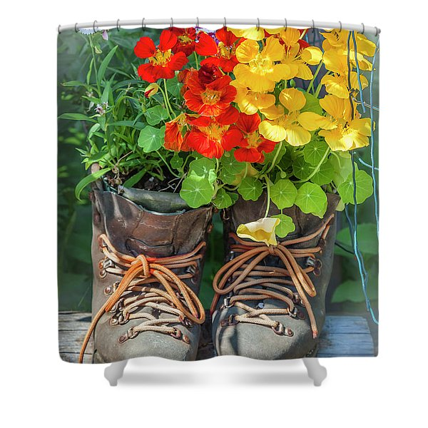 Flower Boots Shower Curtain