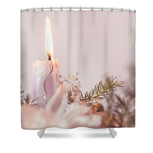 Flower Bouquet With Candle Shower Curtain