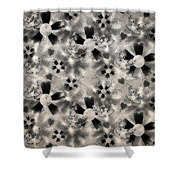 Flower Clown Pattern In Black Shower Curtain