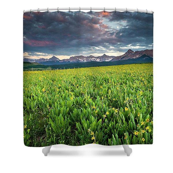Flower Field And Sneffels Range Shower Curtain