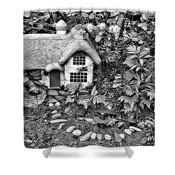 Flower Garden Cottage In Black And White Shower Curtain