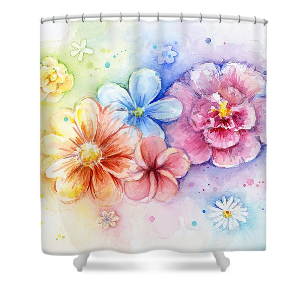 Flower Power Watercolor Shower Curtain