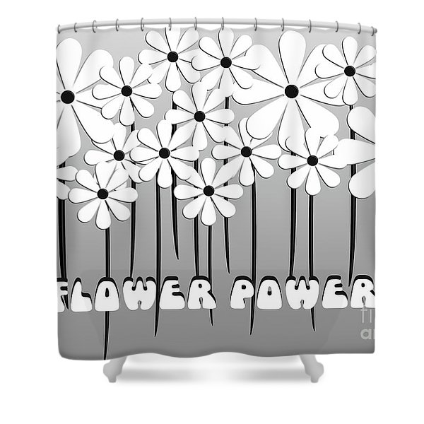 Flower Power - White  Shower Curtain