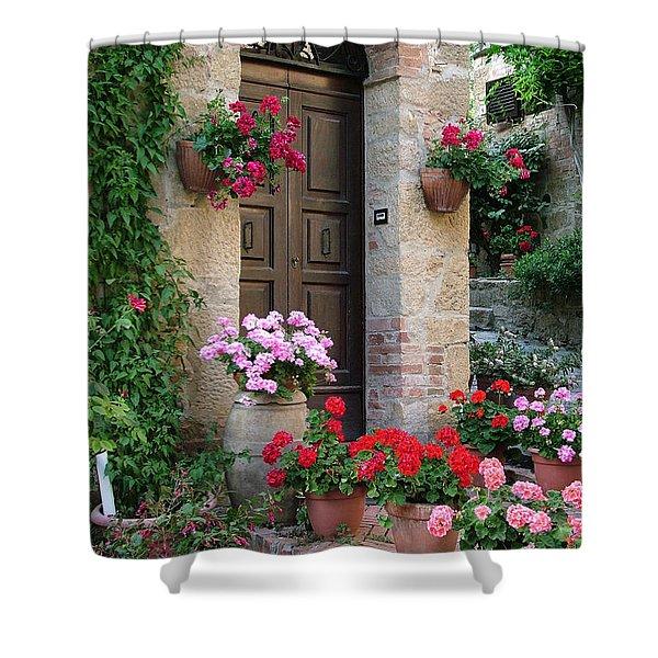 Flowered Montechiello Door Shower Curtain