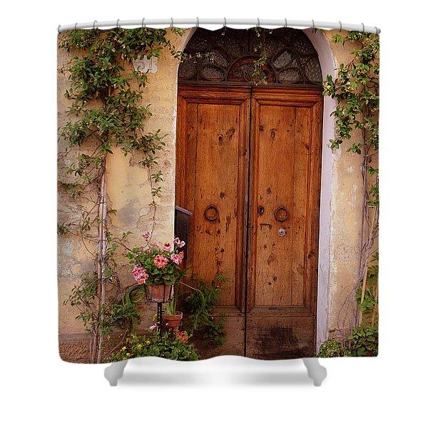 Flowered Tuscan Door Shower Curtain