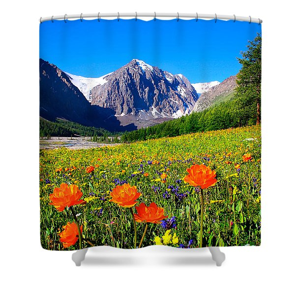 Flowering Valley. Mountain Karatash Shower Curtain