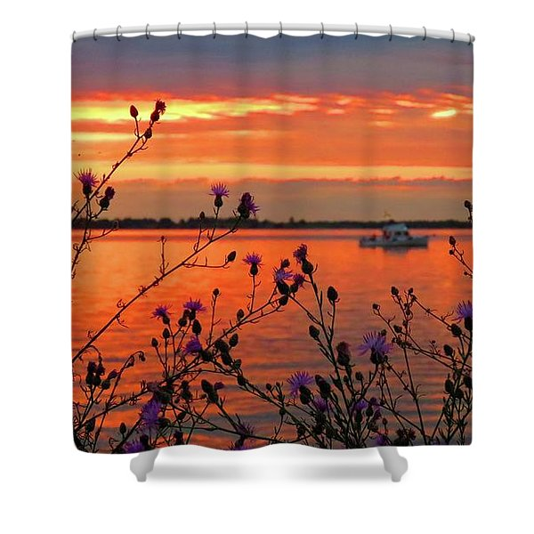 Flowers Along The Shore At Tibbetts Point  Shower Curtain