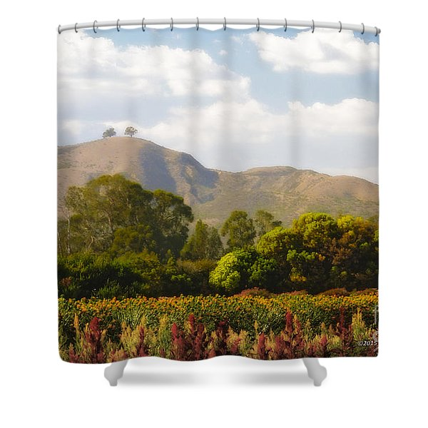 Flowers And Two Trees Shower Curtain