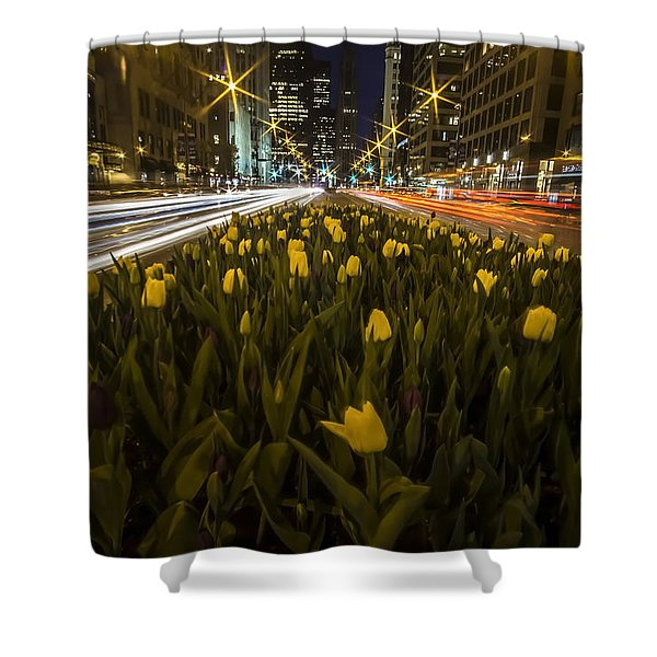 Flowers At Night On Chicago's Mag Mile Shower Curtain