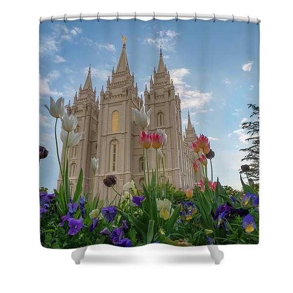 Flowers At Temple Square Shower Curtain