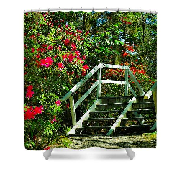 Flowers Bloom Alongside Magnolia Plantation Bridge - Charleston Sc Shower Curtain