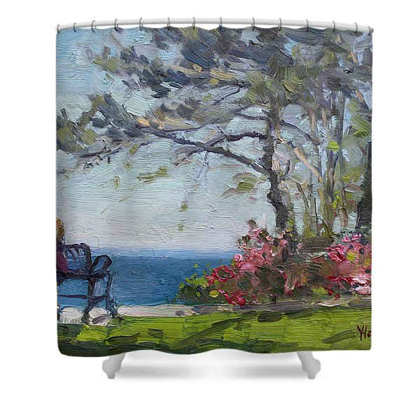 Flowers By Lake Ontario Shower Curtain
