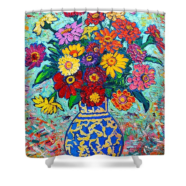 Flowers - Colorful Zinnias Bouquet Shower Curtain