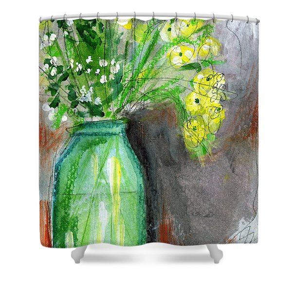 Flowers In A Green Jar- Art By Linda Woods Shower Curtain