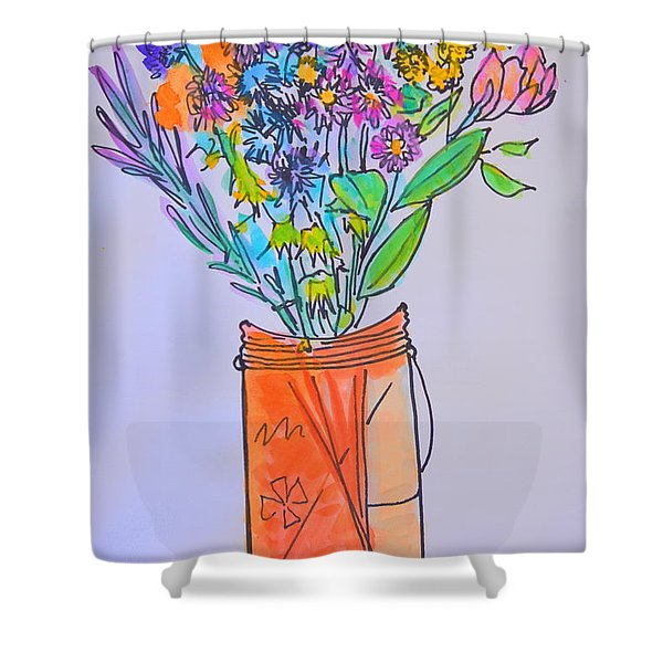Flowers In An Orange Mason Jar Shower Curtain