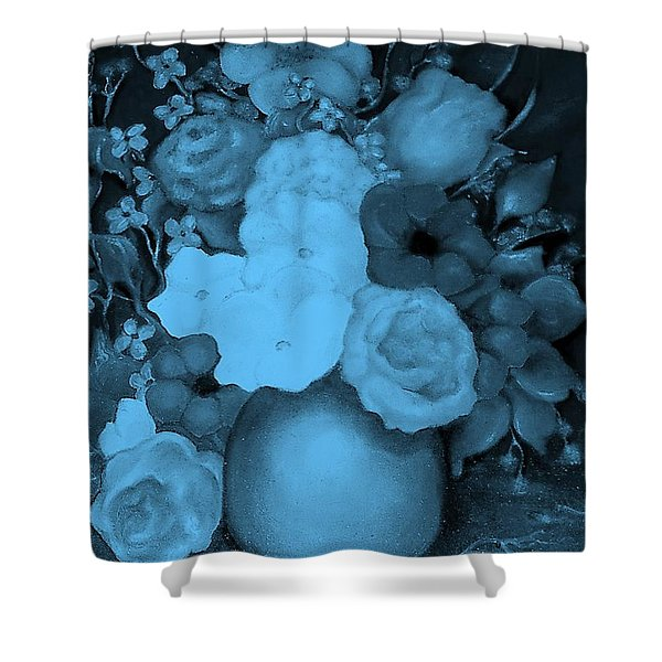 Flowers In Blue Shower Curtain