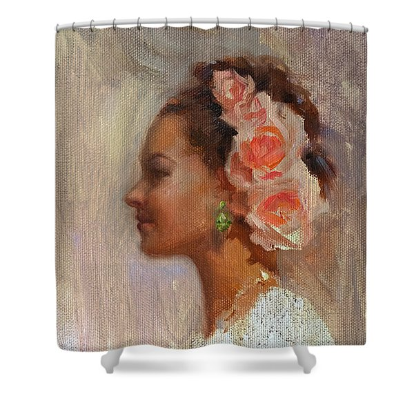 Pretty Flowers - Impressionistic Portrait Of Young Woman Shower Curtain