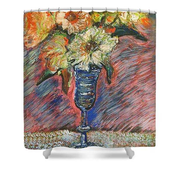 Flowers In Wine Glass Shower Curtain