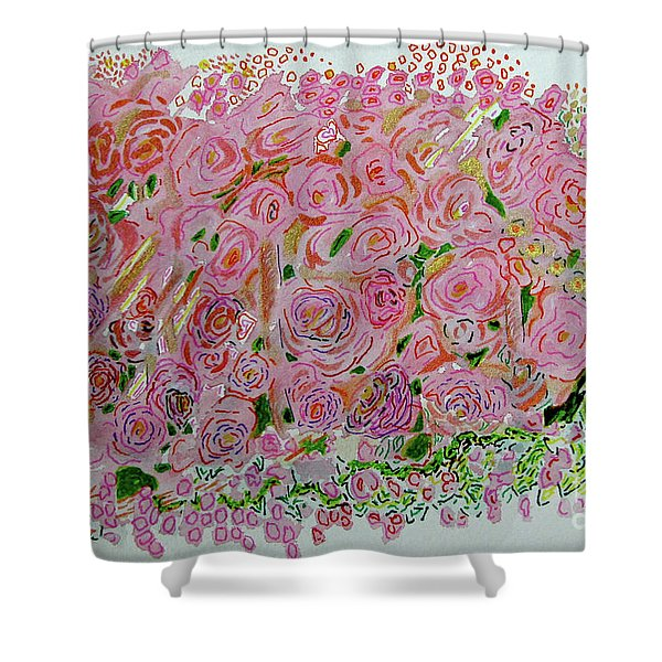 Flowers Of Pink And Gold Shower Curtain
