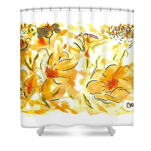 Flowers Of Yellow And Gold Shower Curtain