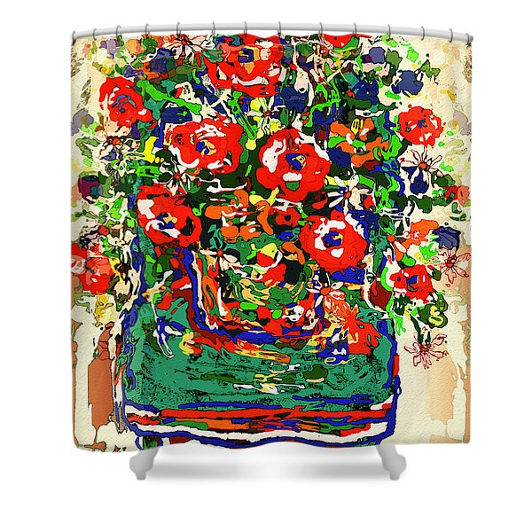 Flowers On Green Chair Shower Curtain