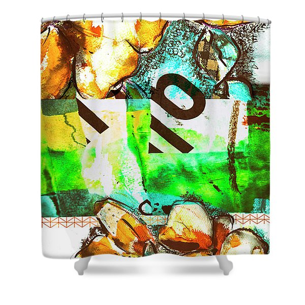 Flowers On Paper,  Collage And Acrylic Shower Curtain
