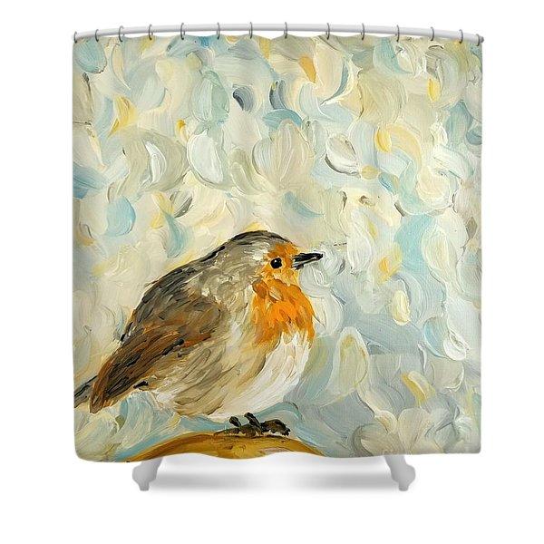 Fluffy Bird In Snow Shower Curtain