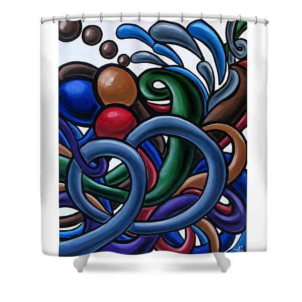Colorful Abstract Art Painting Chromatic Water Artwork Shower Curtain