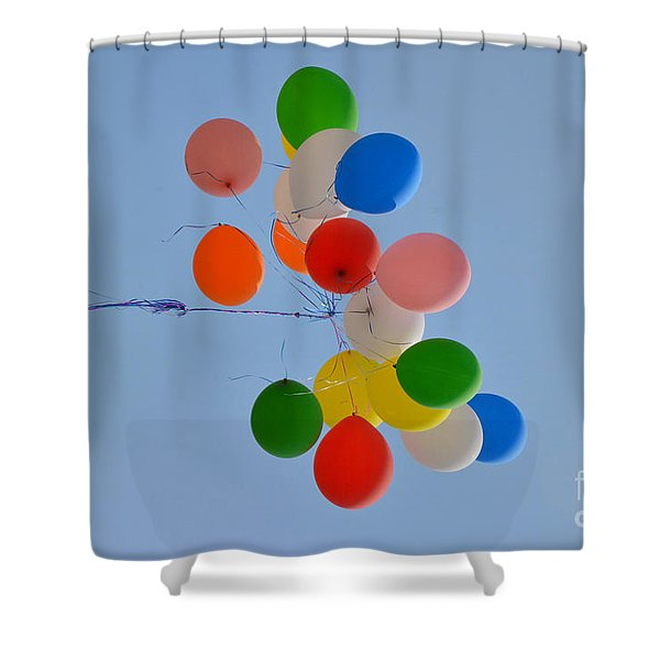 Fly Away Balloons Shower Curtain