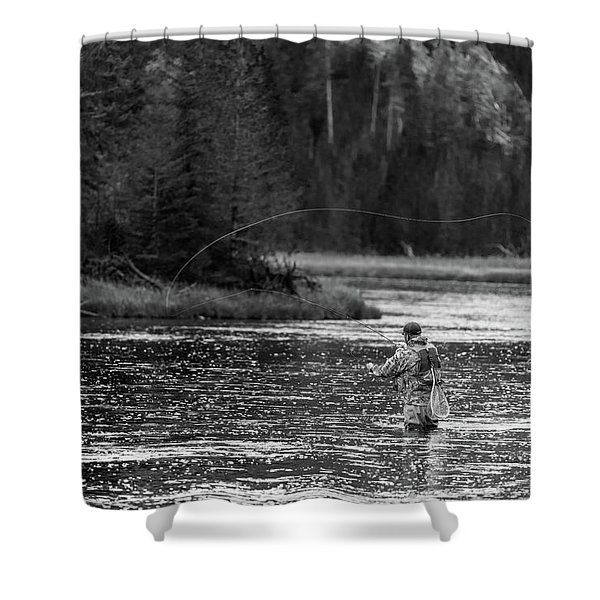 Fly Fishing Yellowstone Wy B W Shower Curtain
