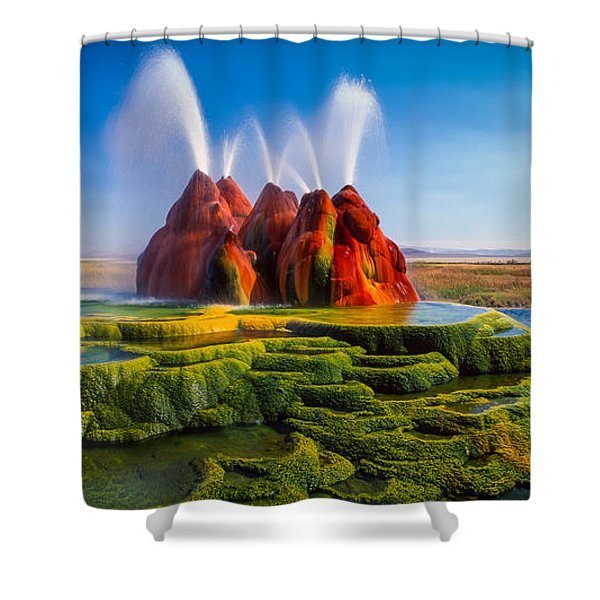 Fly Geyser Panorama Shower Curtain